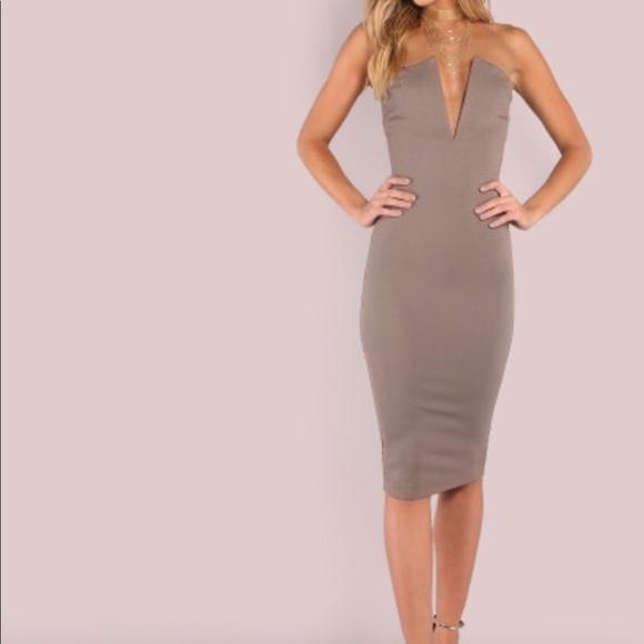 3ccb32fb9f Plunging bust bandeau bodycon (tight) midi dress. M_5b428473819e900ce86d4e5d